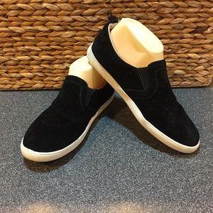 Monkey Feet Black Suede Slip-ons